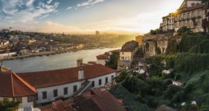 View over Porto, seeing houses, the river and the promenade
