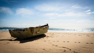 Small Ship on Beach