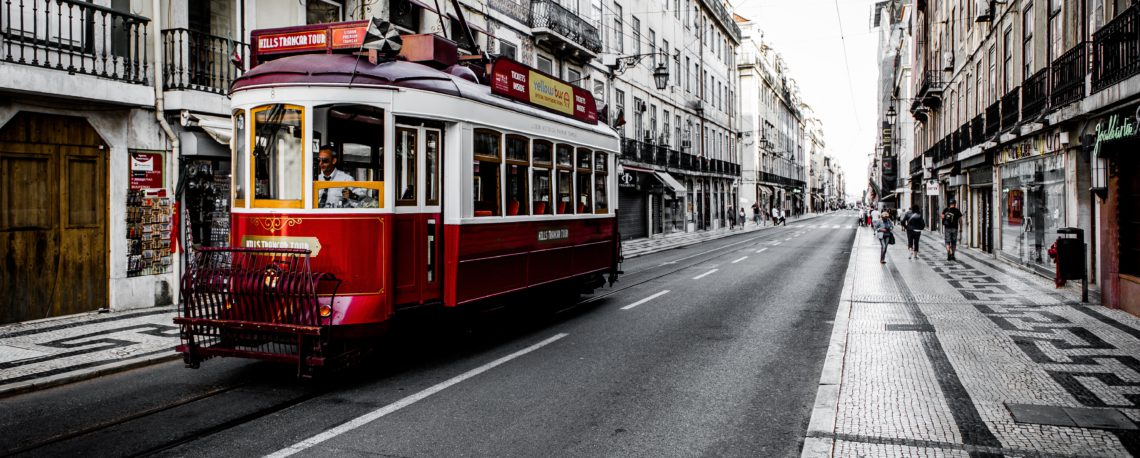 Red Tram in Lisbon - Portugal