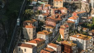 Houses in Porto next to a wall